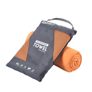 Rainleaf Microfiber Towel Perfect Sports & Travel &Beach Towel. Fast Drying - Super Absorbent - Ultra Compact. Suitable for Camping, Gym, Beach, Swimming, Backpacking.Orange