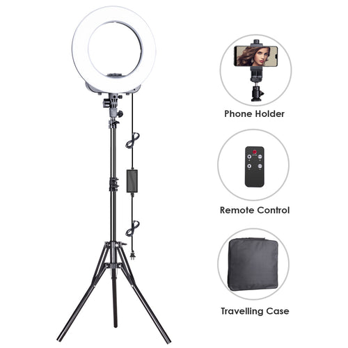 Geekoto Ring Light, LED Ring Light, Ring Light with Stand and Phone Holder, 14-inches Outer Lighting Kit 38W, 3200K-5500K, Remote Control for Youtube Video Shooting, Makeup, Photography