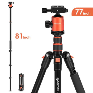 Geekoto Tripod, Camera Tripod for DSLR, Compact 77'' Aluminum Tripod with 360 Degree Ball Head and 8kgs Load for Travel and Work
