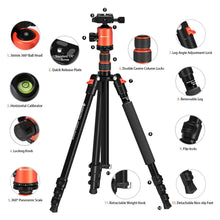 Load image into Gallery viewer, Geekoto Tripod, Camera Tripod for DSLR, Compact 77'' Aluminum Tripod with 360 Degree Ball Head and 8kgs Load for Travel and Work