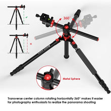 Load image into Gallery viewer, Geekoto Tripod, Camera Tripod for DSLR, Compact 75'' Aluminum Tripod with 360 Degree Ball Head, Professional Horizontal Tripod for Travel and Work (X25)