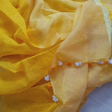 Load and play video in Gallery viewer, Beautiful Handwoven Yellow Linen Resham Sari with sequins