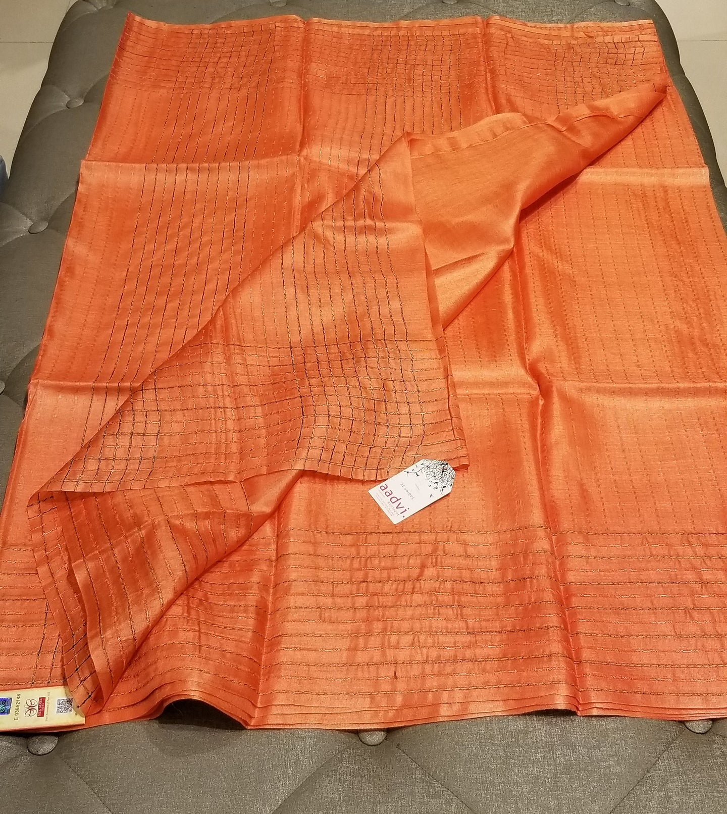 Pastel Orange Handwoven Pure Tussar Silk