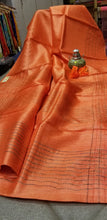 Load image into Gallery viewer, Pastel Orange Handwoven Pure Tussar Silk