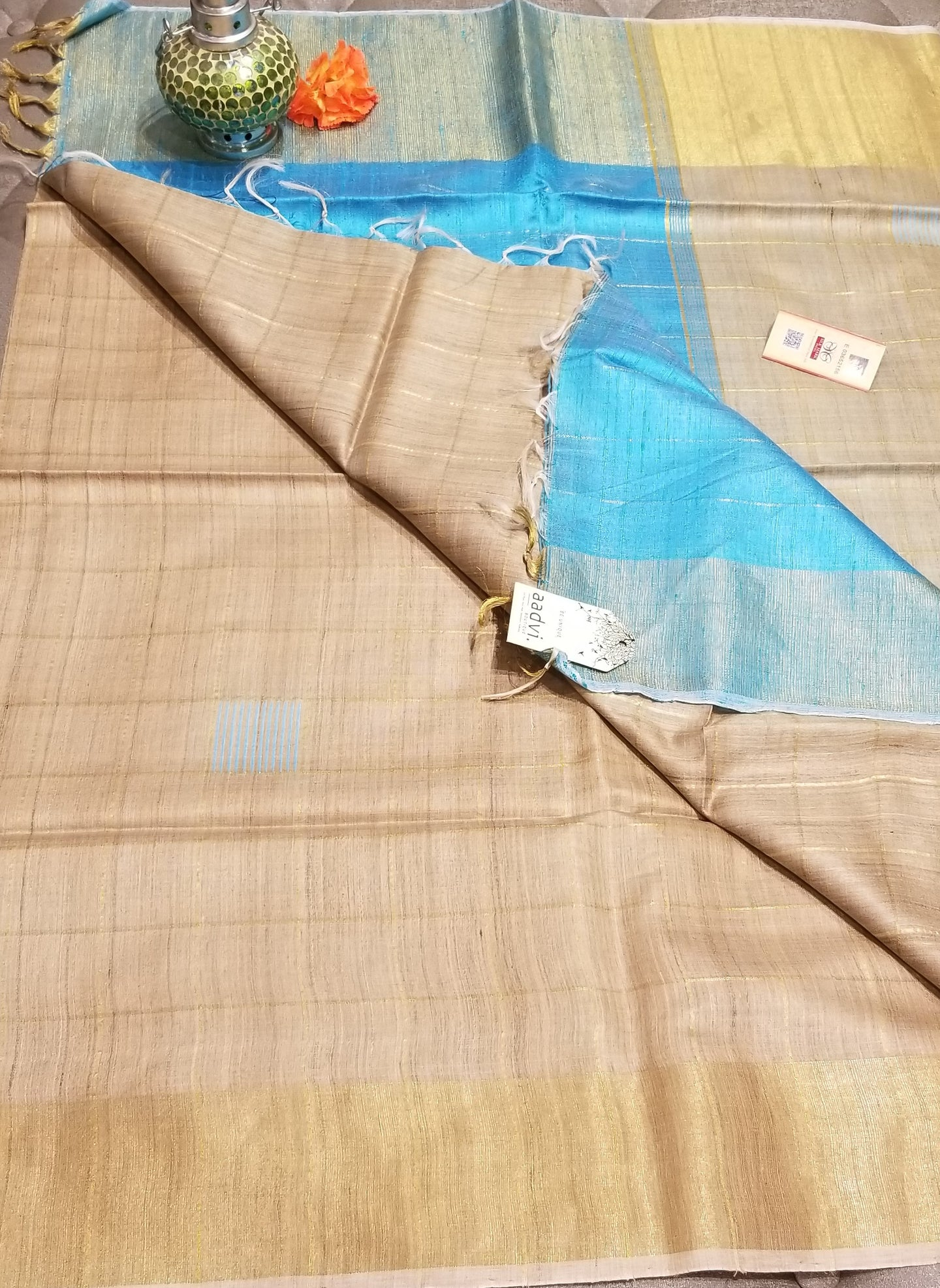 Handwoven Pure Tussar Silk with Base Color and sky blue Pallu