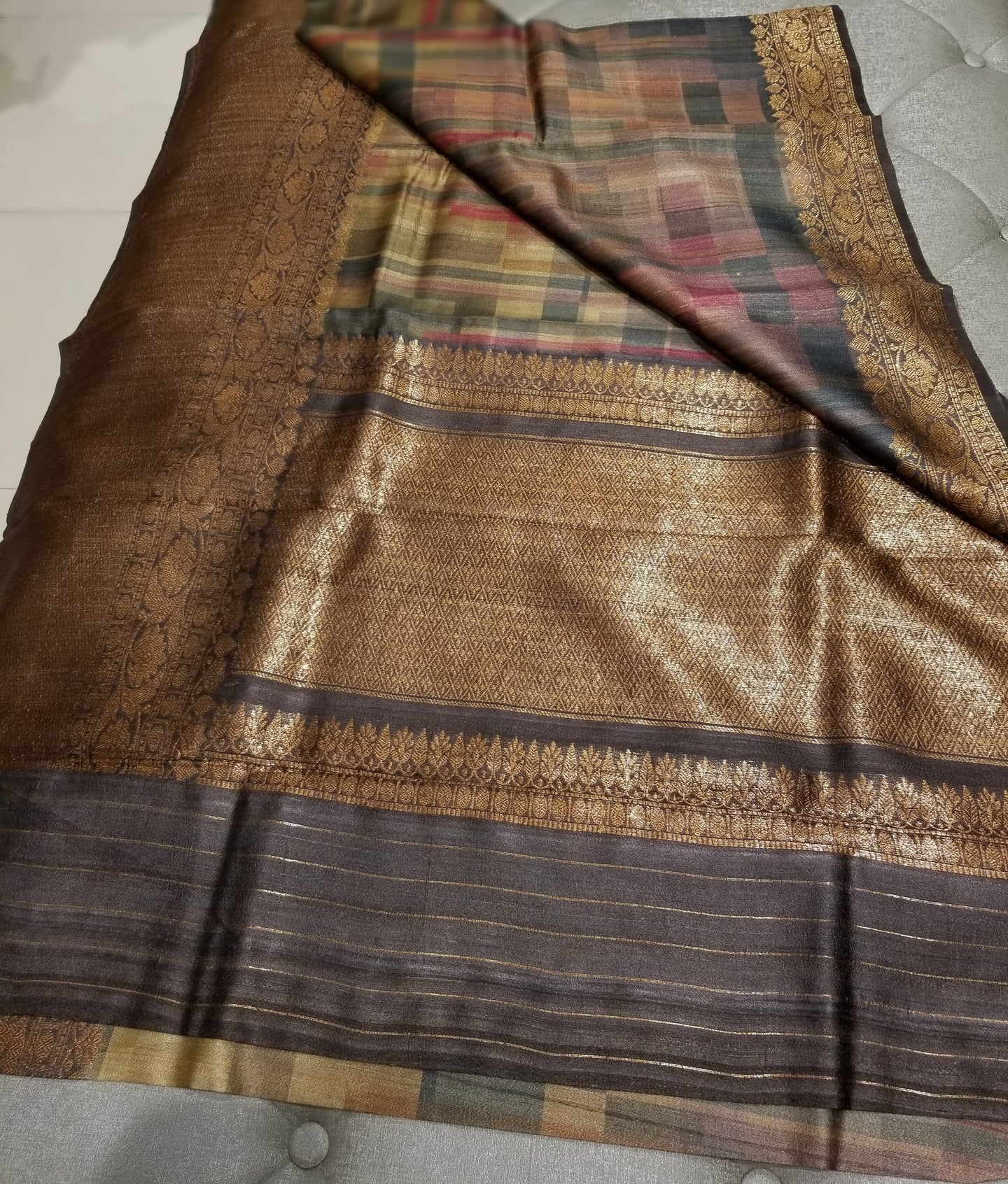 Digital print on Pure Tussar Silk with Banarasi Border