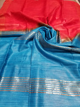 Load image into Gallery viewer, Red Handwoven Ghicha tussar silk with Blue Pallu