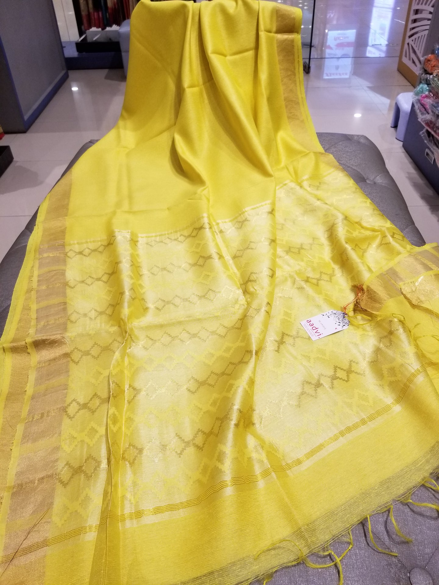 Yellow handwoven Noel Tussar silk  with golden border