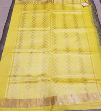 Load image into Gallery viewer, Yellow handwoven Noel Tussar silk  with golden border