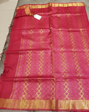 Load image into Gallery viewer, Cherry Red handwoven Noel Tussar silk  with golden border
