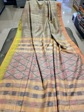 Load image into Gallery viewer, Beige Handwoven Khadi Tussar Silk with two shades of border