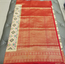 Load image into Gallery viewer, Off-White Double Silk Ikkat Sari with Red Banarasi Pallu and Border