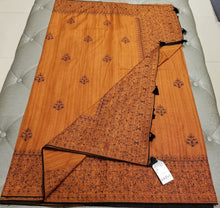 Load image into Gallery viewer, Rust Color Blended Silk Sari with Threadwork and black rhinestone
