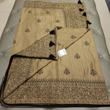 Load image into Gallery viewer, Beige Color Blended Silk Sari with Threadwork and black rhinestone