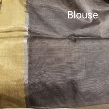 Load image into Gallery viewer, Deep Grey Chanderi Handwoven Silk Sari