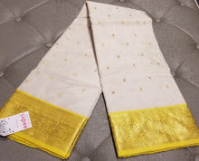 Load image into Gallery viewer, White Chanderi Handwoven Pure Silk by Silk Sari with Yellow Border