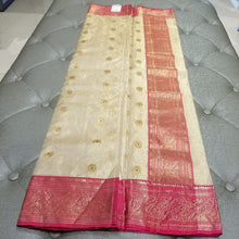 Load image into Gallery viewer, Off-White Chanderi Handwoven Pure Silk by Tissue Sari with Deep Pink Border