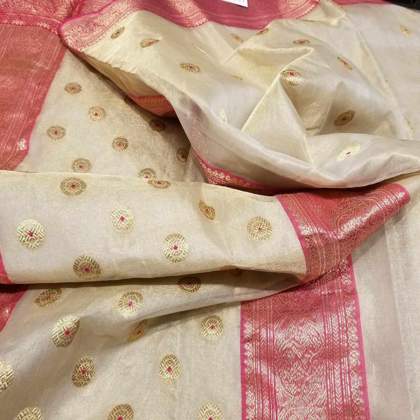 Off-White Chanderi Handwoven Pure Silk by Tissue Sari with Deep Pink Border