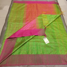 Load image into Gallery viewer, Parrot Green Pure Dupion Silk Handwoven Sari with Pink Border and checkered body