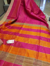 Load image into Gallery viewer, Pink Pure Dupion Silk Handwoven Sari with Orange and Pink Pallu