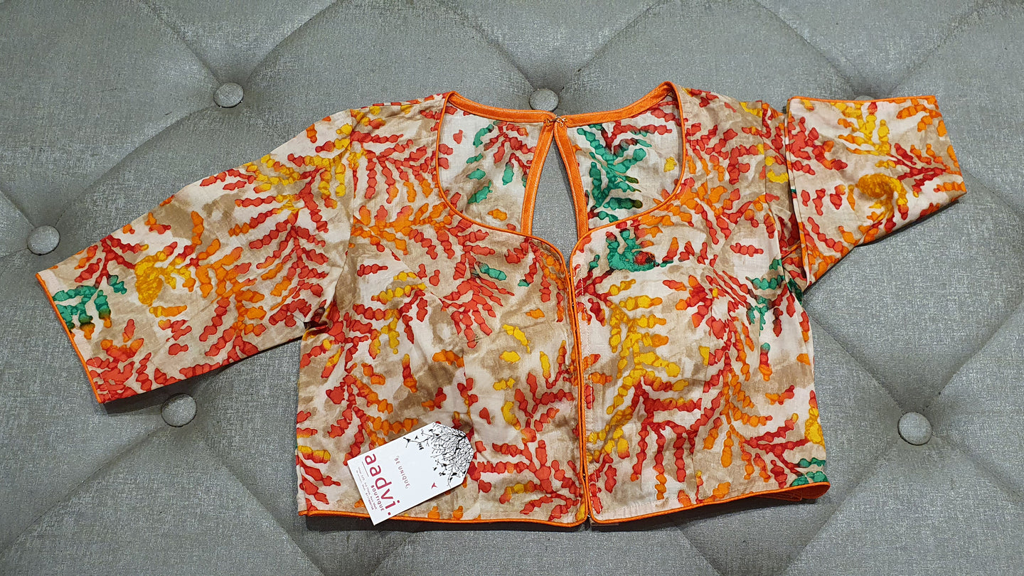 Golden Cream Designer Blouse with Dyed Floral Pattern - Front Side