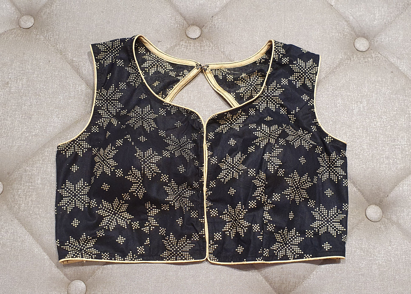 Black Designer Blouse with White Geometric Patterns - Front Side