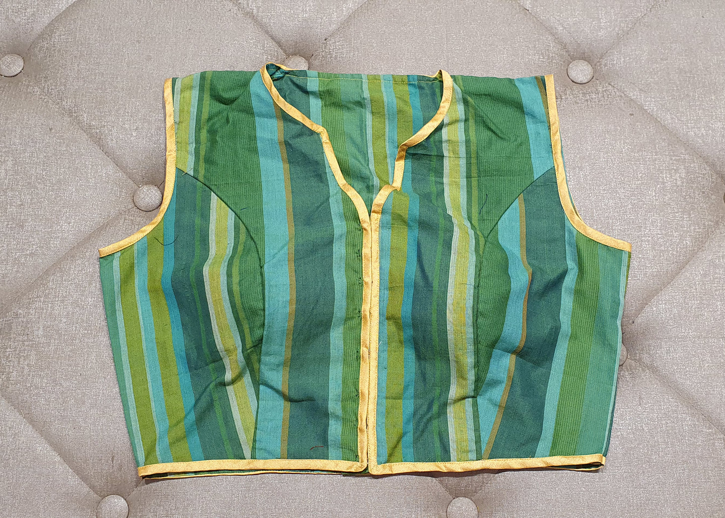 Designer Blouse with Green Shade Stripes - Front Side