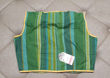 Load image into Gallery viewer, Designer Blouse with Green Shade Stripes - Back Side