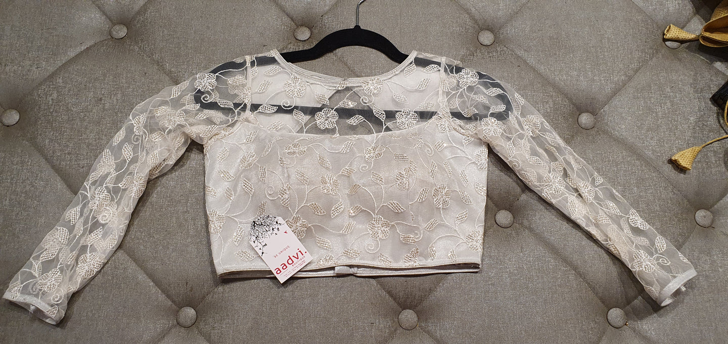 White Net Designer Blouse with Embroidered Floral Pattern - Front Side