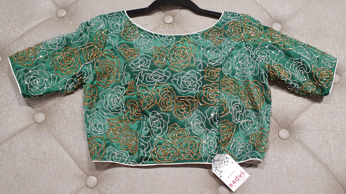Sea Green  Hand Embroidered Designer Blouse with Floral Zardosi Work - Front Side