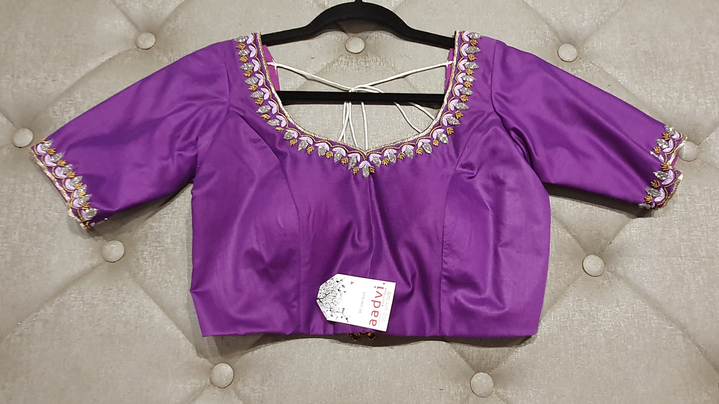 Purple Hand Embroidered Designer Blouse with Zardosi Work - Front Side