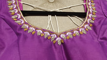 Load image into Gallery viewer, Purple Hand Embroidered Designer Blouse with Zardosi Work - Closeup