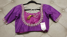 Load image into Gallery viewer, Purple Hand Embroidered Designer Blouse with Zardosi Work - Back Side