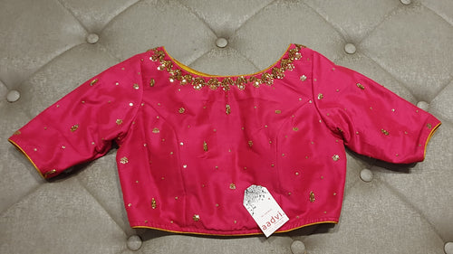 Pink Hand Embroidered Designer Blouse with Zardosi Work - Front Side