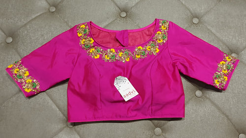Deep Pink Hand Embroidered Designer Blouse - Front Side