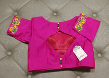 Load image into Gallery viewer, Deep Pink Hand Embroidered Designer Blouse - Back Side