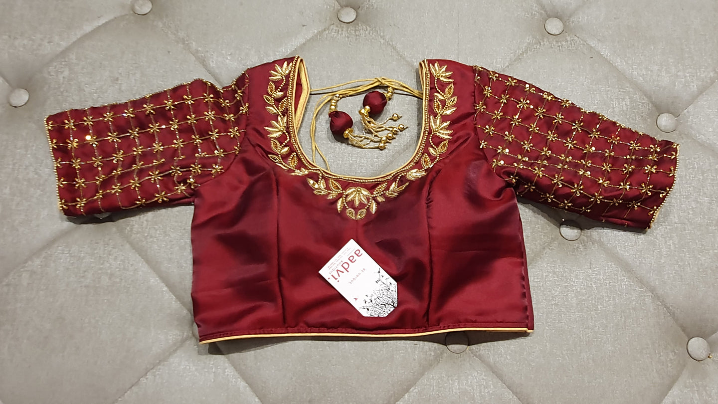 Maroon Hand Embroidered Designer Blouse - Front Side