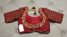 Load image into Gallery viewer, Maroon Hand Embroidered Designer Blouse - Back Side