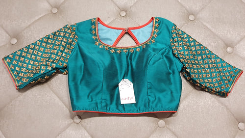 Turquoise Hand Embroidered Designer Blouse - Front Side