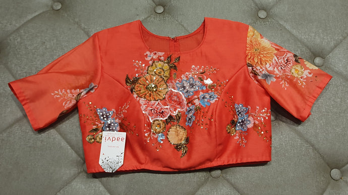 Tomato Red Hand Embroidered Designer Blouse with Floral Prints - Front Side