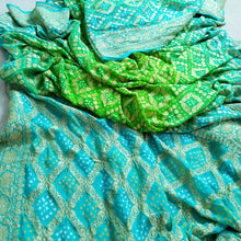 Load image into Gallery viewer, Handwoven Pure Bandhej Sari in Cyan and Parakeet green colour