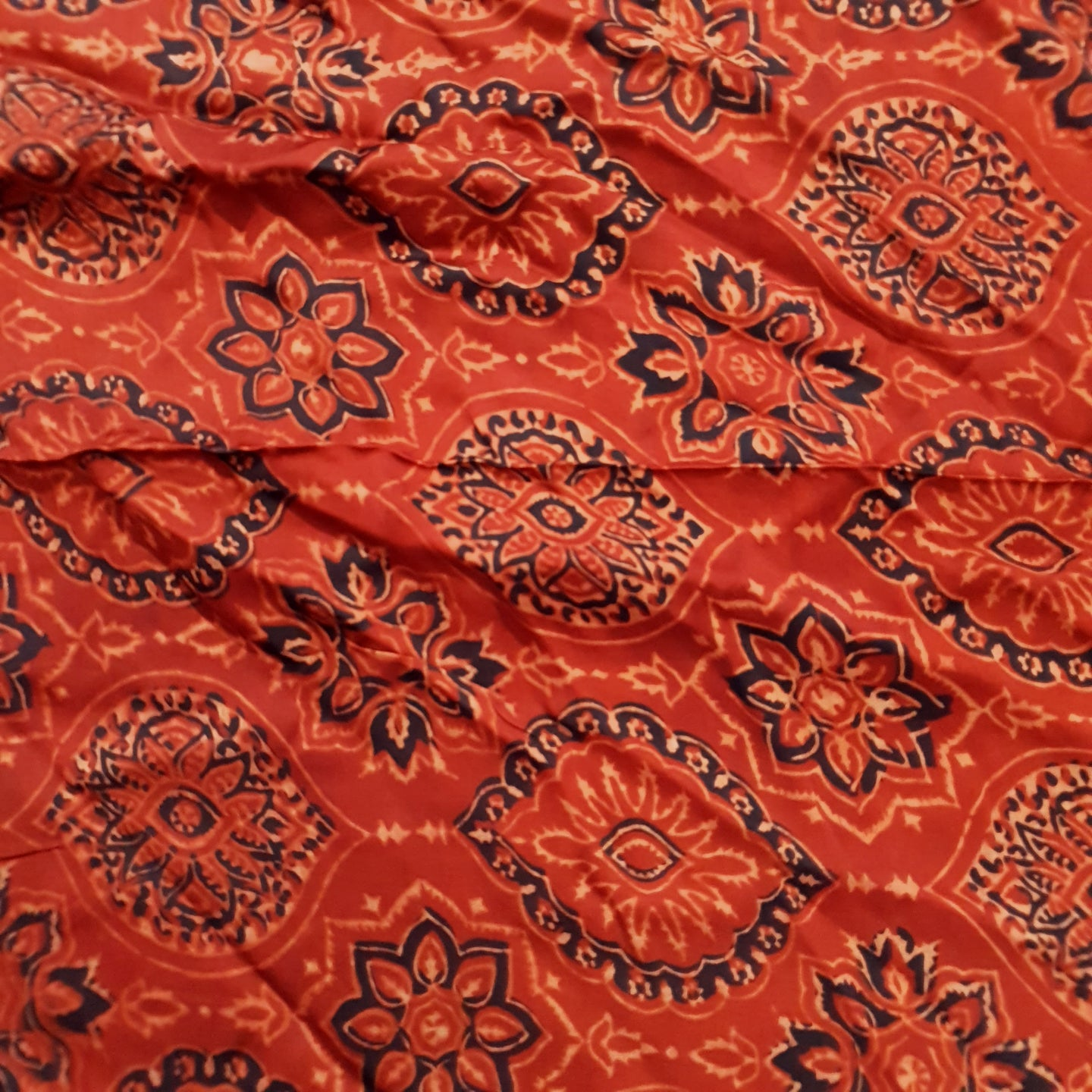 Red Ajrakh Print Modal Silk Fabric