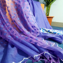 Load image into Gallery viewer, Handwoven Iris Resham Sari With Scalloped Border