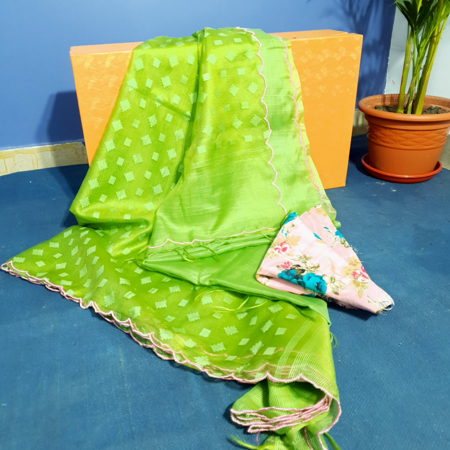 Handwoven Chartreuse Green Resham Sari With Scalloped Border