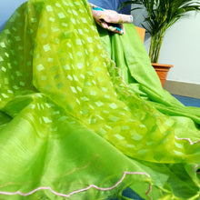Load image into Gallery viewer, Handwoven Chartreuse Green Resham Sari With Scalloped Border
