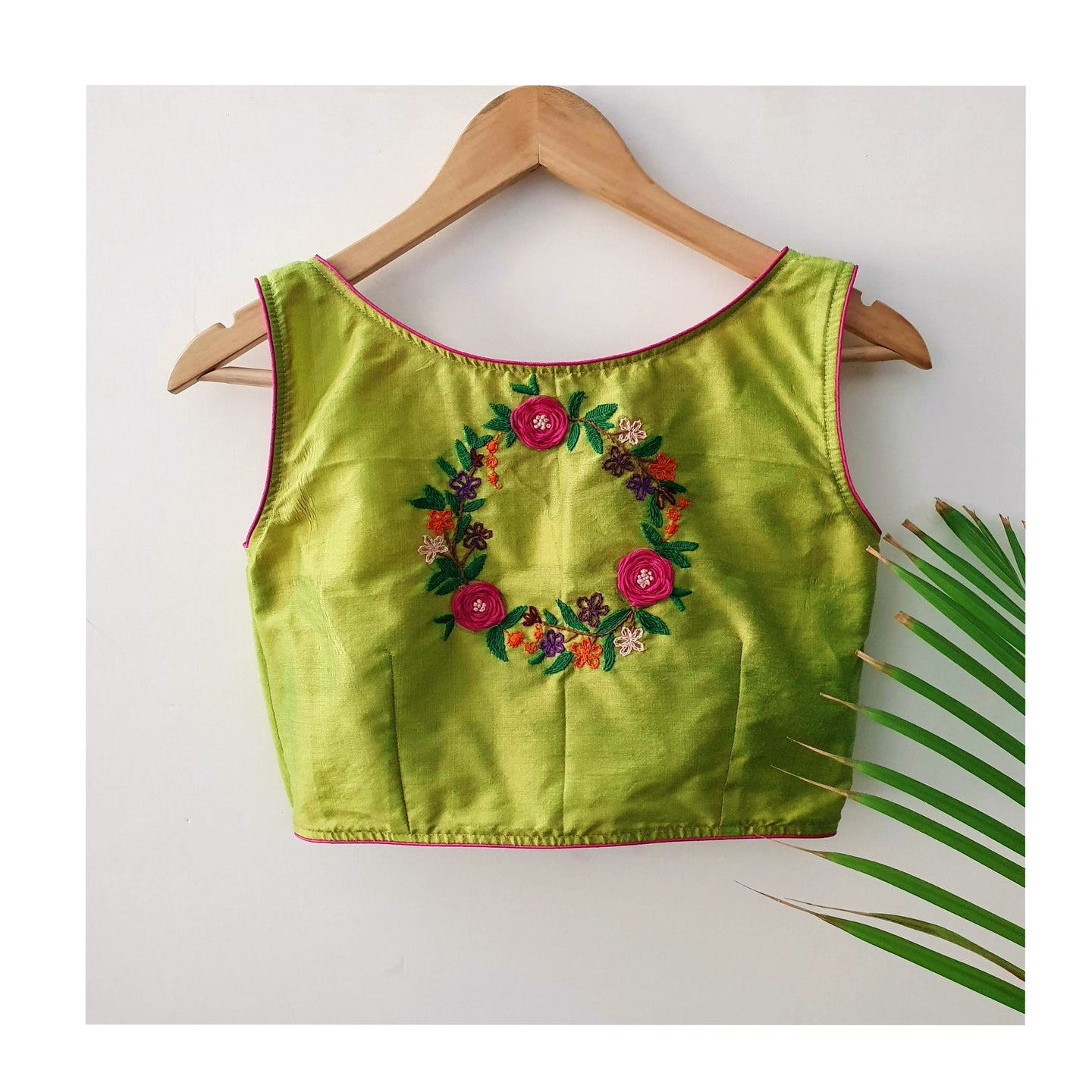 Multi-Thread Hand Embroidery Cotton Blouse