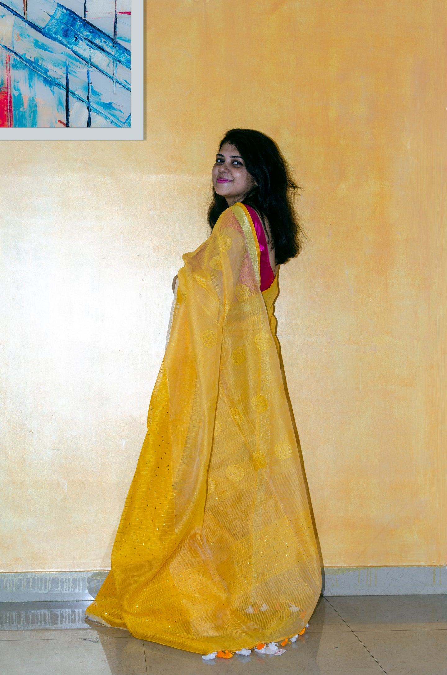 Beautiful Handwoven Yellow Linen Resham Sari with sequins