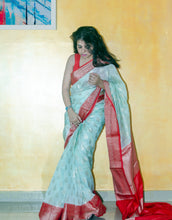 Load image into Gallery viewer, LightCyan Banarasi Organza Saree