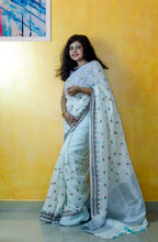 Load image into Gallery viewer, Ivory Embroidered Pure Linen Sari