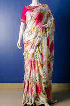 Load image into Gallery viewer, Beautiful Floral Print Satin Georgette Sari